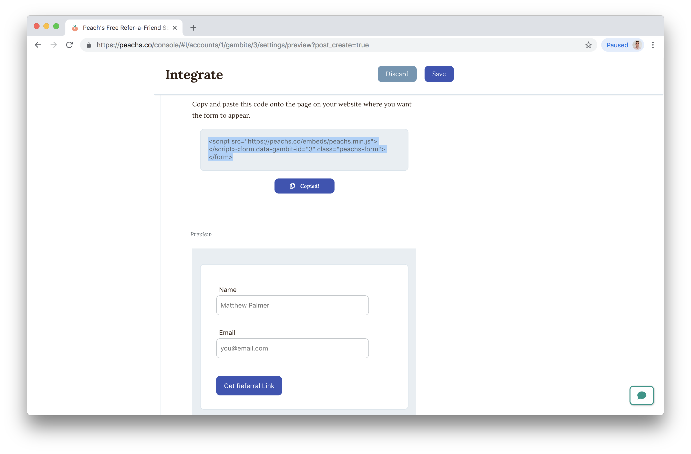 Gumroad Integration - Referral Programs for Squarespace